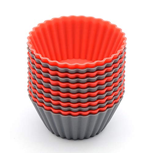BiaoGan 12 Pack Reusable Nonstick Jumbo Silicone Baking Cups, Cupcake and Muffin Liners, 3.54 Inch Large Size, in Storage Container, Red and Gray Colors, Round