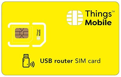 SIM-kort för USB ROUTER – Things Mobile – med globalt nätskydd och nätverk för flera leverantörer GSM/2G/3G/4 G. Utan fasta kostnader och utan förfallsdatum. 10 nya produkter inklusive