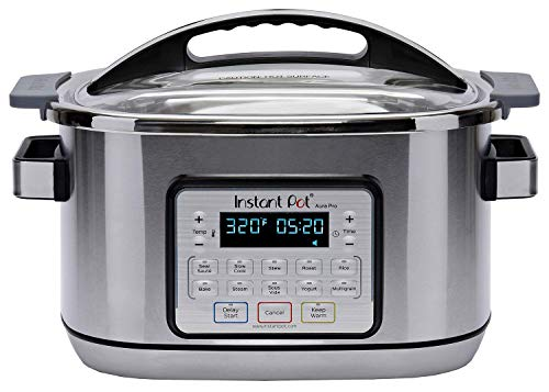 Instant Pot Aura Pro Multi-Use Programmable Slow Cooker with Sous Vide, 8 quart, Silver (AURA PRO 6QT)