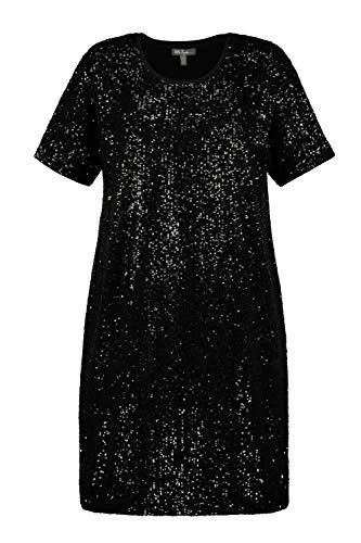 Ulla Popken Damen Paillettenkleid Kleid, schwarz, 54 Größen