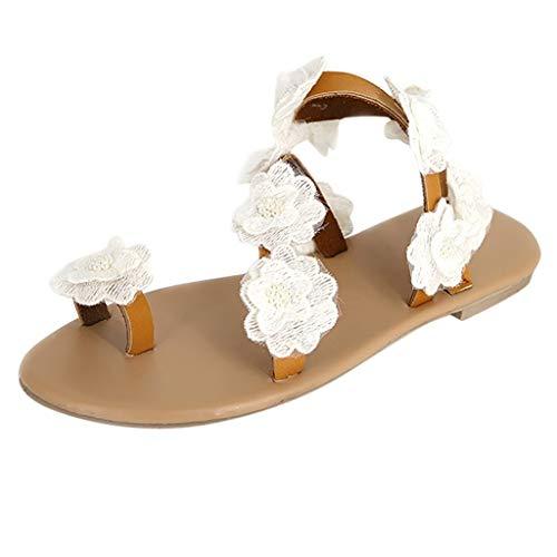 Luckycat Zapatillas Sandalias Correa de Tobillo Gladiator Mujer Joyas Flores tacón Plano Sandalias Bohemia Mujer Sandalias de Verano para Mujer Zapatos Comodos Sandalias Planas Playa Zapatos de Boda