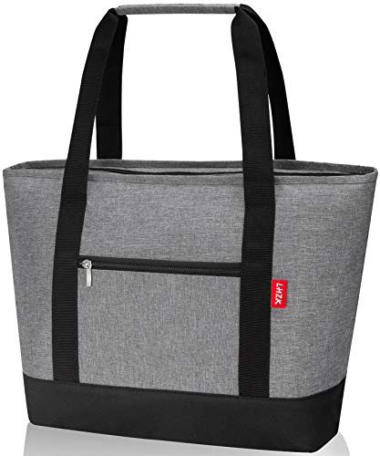 LHZK Insulated Cooler Bag 28L  30-Can  Reusable Grocery Bag Transport Cold or Hot Food Collapsible Insulated Tote Bag Beach Bag Travel Cooler or Picnic Cooler Large Gray