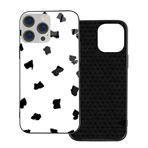 Compatible con iPhone 12 Pro Max, carcasa resistente de cuerpo completo, carcasa de vidrio TPU suave para iPhone 12 Pro Max 6.7 pulgadas, lunares pintados mínimos lunares básicos blanco y negro