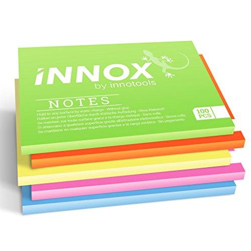 Elektrostatisch selbstklebende Haftnotiz klein   Für alle Oberflächen - Innovative Sticky Notes ohne Klebstoff von INNOX®   Ideen visualisieren, verschieben, strukturieren   Bunt, 10x7cm, 500 Blatt