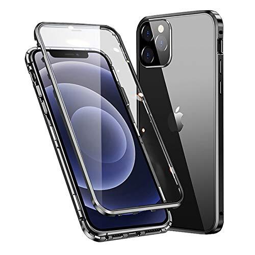 MOSSTAR Coque iPhone 12 Mini, Adsorption Magnétique Métal, Avant et Arrière Verre Trempé Couverture de Plein écran Couverture à 360 Degrés Protection Cover pour Apple iPhone 12 Mini 5.4'', Noir