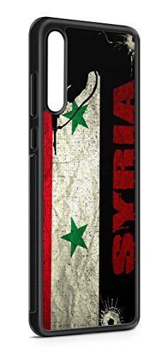 Kompatibel mit Samsung Galaxy A70 Silikon Handyhülle Flexibles Slim Case Cover Syrien Syria Fahne Flagge Schwarz
