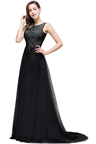 MisShow Damen Tüll Brautjungfernkleid Brautkleider Hochzeitskleider mit Applikation lang Schwarz 36