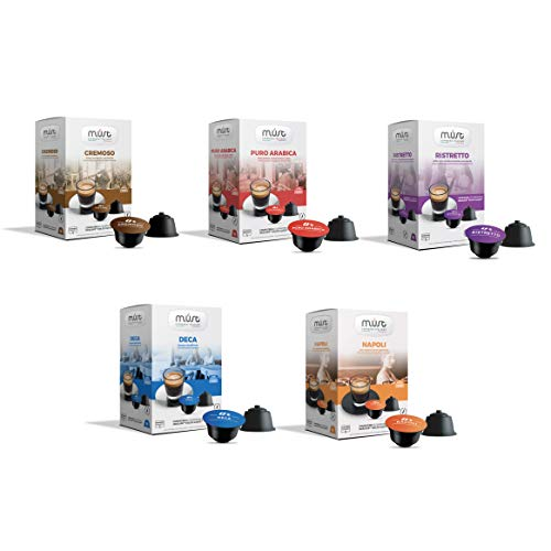 MUST Café Variety Pack Degustación 96 Cápsulas, 6 Paquetes de 16 Cápsulas, Intensidades Mixtas de 5/8 a 8/8, Cápsulas Autoprotegidas Compatibles con la Máquina Nescafè Dolce Gusto, Made in Italy