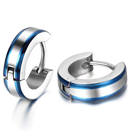 JewelryWe Schmuck Herren Ohrringe, 4MM Breit Einfach Glatt Creolen Ohrstecker, Edelstahl, Blau Silber