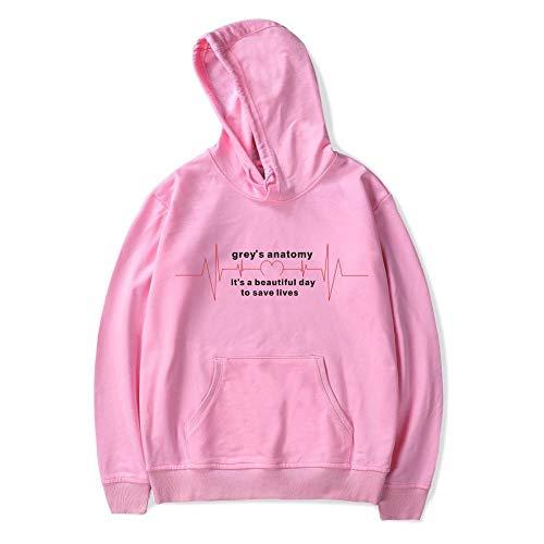 FFFHYTR USA-Fernsehserie Grey's Anatomy Langarm-Kapuzenpullover für Herren und Damen Pink B S