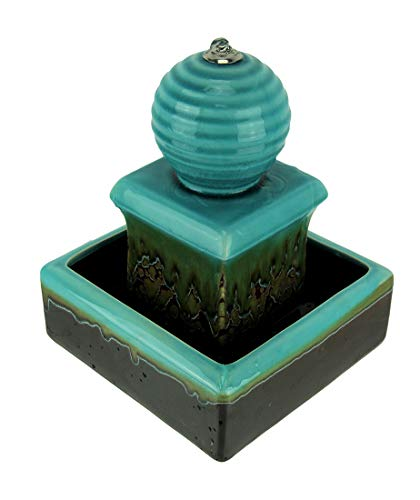 Zeckos 3 Tier Orb Top Square Ceramic Water Fountain