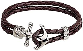 Men and Women Handmade Navy Wind Skulls Anchor Bracelet