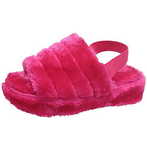 Baño de Sandalia al Aire Libre,Pendiente de Engrosamiento de Gran tamaño con Zapatillas de Piel, Sandalias de algodón cálidas para Mujer-Rosa Red_42-43,Sandalias con Tira Trasera