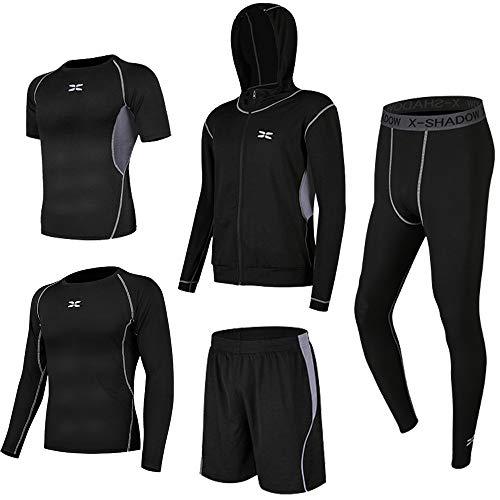 Superora 5 Pezzi Fitness Palestra Completi Sportivi Uomo Abbigliamento Sportivo Pantaloni Compressione Maglie Maglietta Pantaloncini Corsa Leggings Set Uomo (Grigio, XL=EU M)