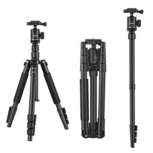 Tripode Camara Reflex, Zecti 14 to 55 pulgadas Trípodes y Monopies , Placa de liberación rápida, y Nivel de burbuja, apacidad de carga 5kg para cámara SLR Canon, Nikon, Sony Pentax trípode