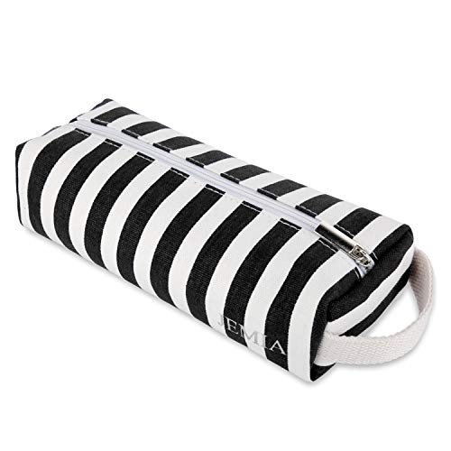 JEMIA Single Compartments Collection 1 Independent Zipper Chambers with Handle Strap Pencil Case (Black White Stripes, Canvas, Large)