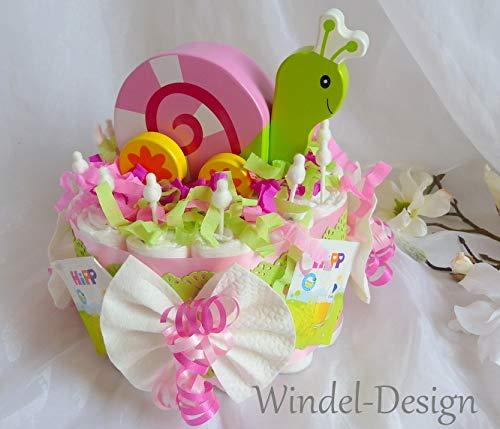 Windeltorte Spieluhr Schnecke Mädchen, Geschenk, Babyparty, Geburt oder Taufe, auf Wunsch mit Grußkärtchen