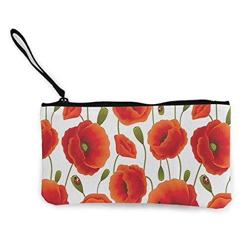 Yuanmeiju Monedero de Lona con Cremallera con Estampado Floral Unisex de Flores de Amapola, Bolso de Maquillaje, Bolso para teléfono móvil con asa