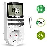 Temporizador Digital con Horario Aleatorio y de Verano. Temporizador Programable con Pantalla LCD, 24/7, Enchufe UE, para Ahorro de Energía.Unodeco U002
