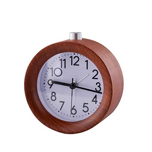 Enjoy Best Time Retro Wood Alarm Clocks for bedrooms/Analog Wooden Vintage Travel Digital Alarm Clock No Tick with Nightlight for Home Decoration