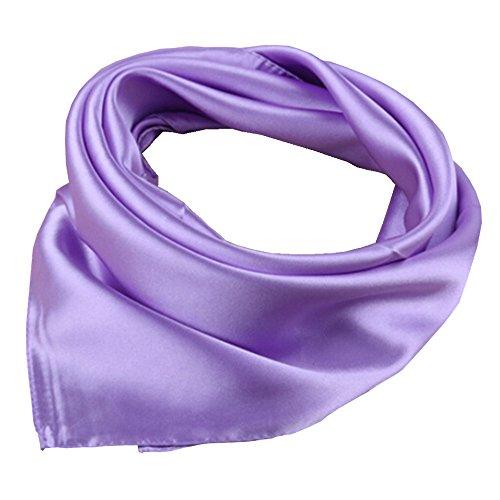 Women's Solid Color Square Scarf Neckerchief (Lavender)