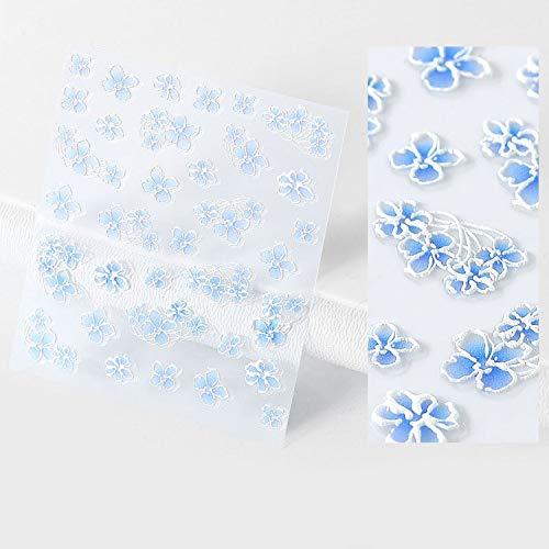 Nail Art Fimo Tranches 1 Sac 5D Nail Sticker Gravé Fleur Feuille Conception Adhésif Feuilles Autocollants DIY Manucure Curseur 3D Nail Art Décorations Conseils-10-
