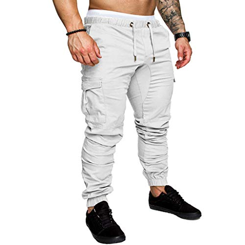 ✦◆HebeTop✦◆ Mens Athletic Workout Sweatpants Casual Trousers with Cargo Pockets White