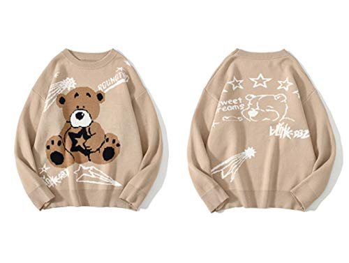 Bear Print Knitted Sweater Sweater Oversize Hip Hop Streetwear Pullover Loose Tops