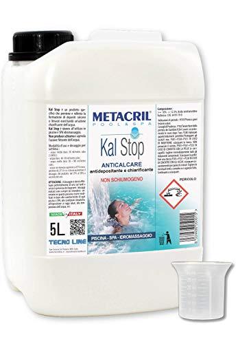 Metacril Kal Stop 5 LT + dosatore. ANTICALCARE e Chiarificante Non SCHIUMOGENO - Ideale per Piscina o Idromassaggio (Teuco,Jacuzzi,Dimhora,Intex,Bestway,ECC.) Spedizione IMMEDIATA