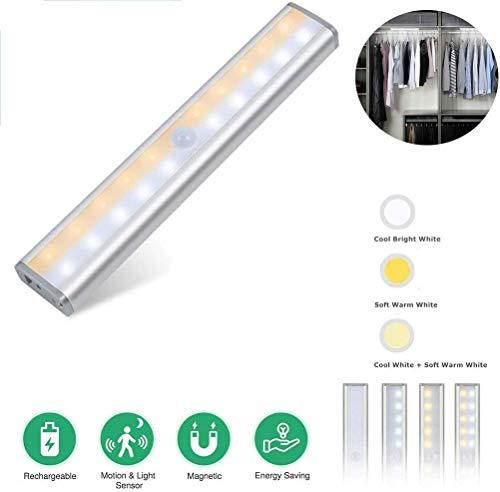20LED USB oplaadbare Motion Sensor Closet verlichting draadloos onder kastlicht, drie modi plakken overal magnetisch bedlampje voor kast kast keuken trappen (2 stuks) Soul hill