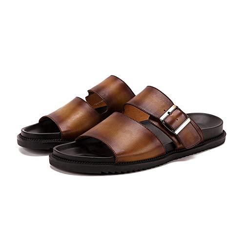 cicongzai Zapatos de Cuero para Hombre de Verano Hechos a Mano Sandalias Top Capa Retro Zapatos de Cuero Zapatillas Moda para Hombre Zapatos de Cuero Casual (Color : Amarillo, tamaño : 38-EU)