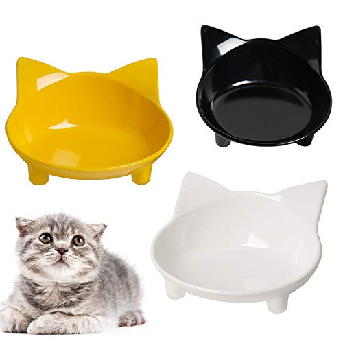 Cat Bowl Cat Food Bowls Non Slip dog Dish Pet Food Bowls Shallow Cat Water Bowl Cat Feeding Wide Bowls to Stress Relief of Whisker Fatigue Pet Bowl of...