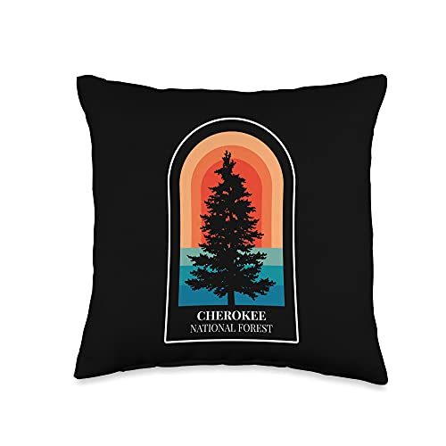 Tout Wear Tennessee Retro Cherokee National Forest Tennessee Hiking Throw Pillow, 16x16, Multicolor
