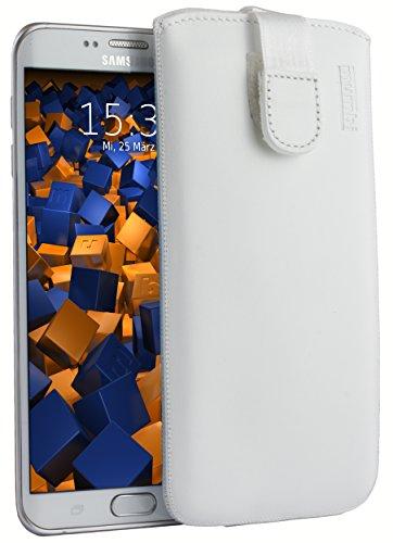 mumbi ECHT Ledertasche Samsung Galaxy S6 Edge+ Tasche Leder Etui weiss (Lasche mit Rückzugfunktion Ausziehhilfe)
