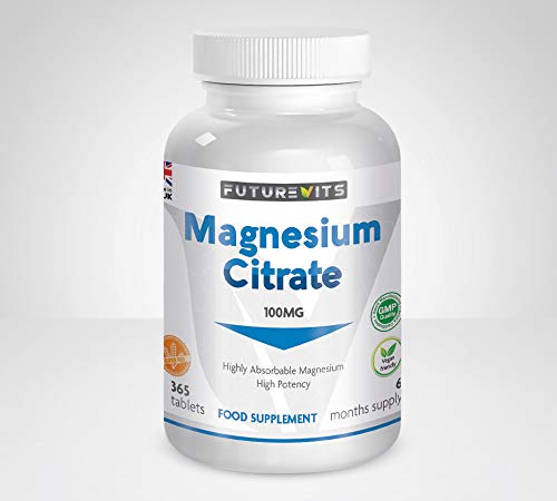 Magnesium Citrate 365 Tablets for 6 Month Supply of Magnesium Tablets Made in The UK Futurevits