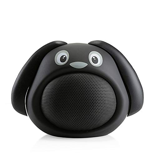 Hugmo Portable Black Dog Speaker Bluetooth with Incredible Sound Volume That Fills The Room, Easy to Carry, Easy to Clean Cute Dog Design