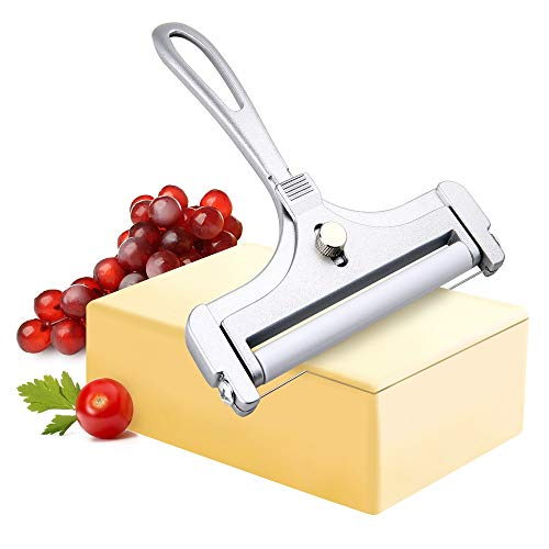 Bivisen Stainless Steel Wire Cheese Slicer, Adjustable Thickness Cheese Slicer Wired Cheese Cutter for Soft, Semi-Hard Cheeses Kitchen Cooking Tool, Silver