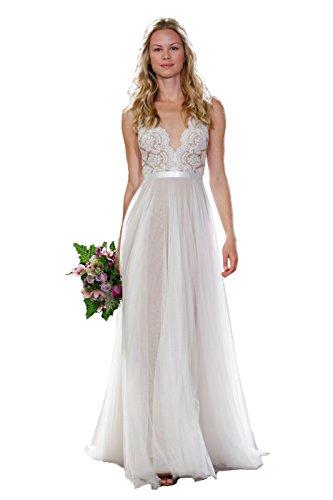 NUOJIA Spitze Hochzeitskleid Strand Lang Tüll Böhmischen Boho Brautkleider Standesamt Weiß 32