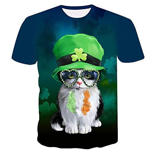 Divertido Gatito Animal, Único Estampado Digital 3D De Verano De Secado Rápido, Cuello Redondo, Camiseta De...