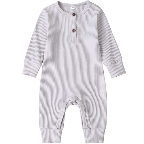 Kuriozud Newborn Infant Unisex Baby Boy Girl Button Solid Romper Bodysuit One Piece Jumpsuit Outfits Clothes (Long Sleeve One Piece Silver, 0-3 Months)