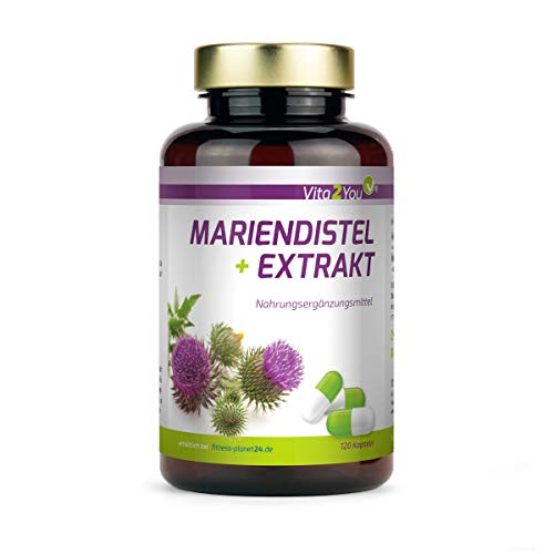 Mariendistel Extrakt mit Silymarin - 600mg pro Kapsel - 120 Kapseln - Hochdosiert - 4 Monatsvorrat - Kombi aus Extrakt und Pulver - Premium Qualität
