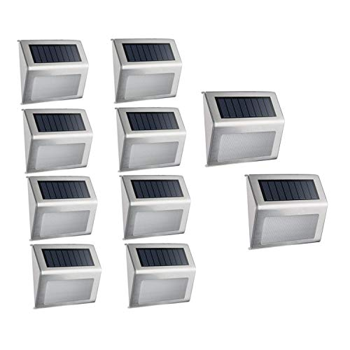 Solar Deck Lights, Ecoyes Bright LED Walkway Light Stainless Steel Waterproof Outdoor Security Lamps for Patio Stairs Garden Pathway (10 Pack)