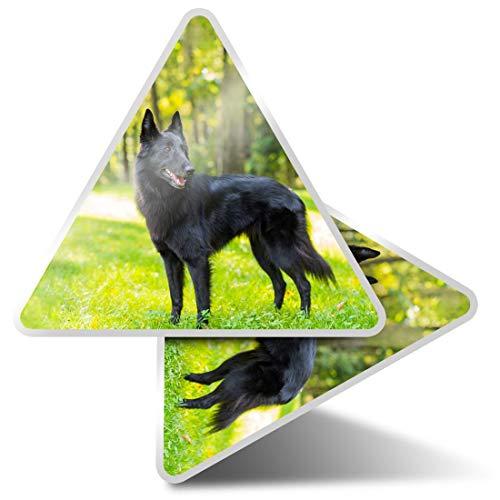 2 pegatinas triangulares de 10 cm – negro pastor belga pegatinas divertidas para portátiles, tabletas, equipaje, reserva de chatarra, nevera #3109
