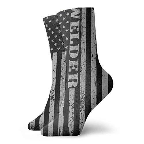 Lsjuee - Calcetines de soldador americano con estampado 3D, novedosos y divertidos para mujer