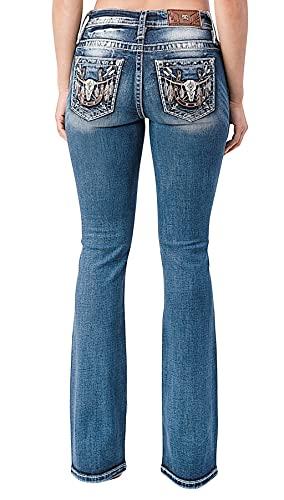 Miss Me Women's Chloe Medium Wash Bootcut Jeans Dark Blue 30W x 34L