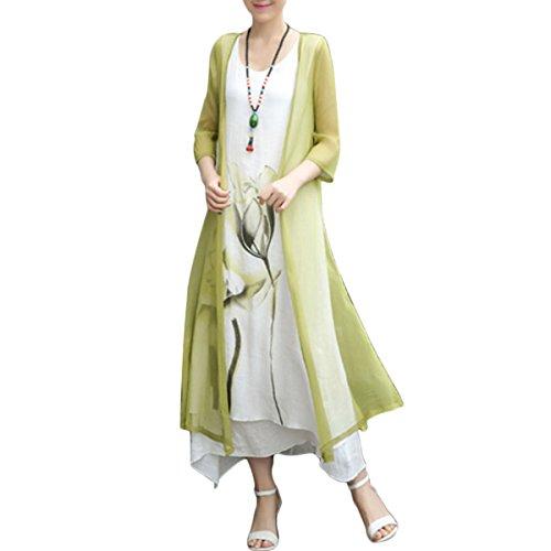 Honwenle Women's Two Piece Retro Round Neck Asymmetric Hem Color Block Printed Long Cotton Linen Maxi Dress Yellow