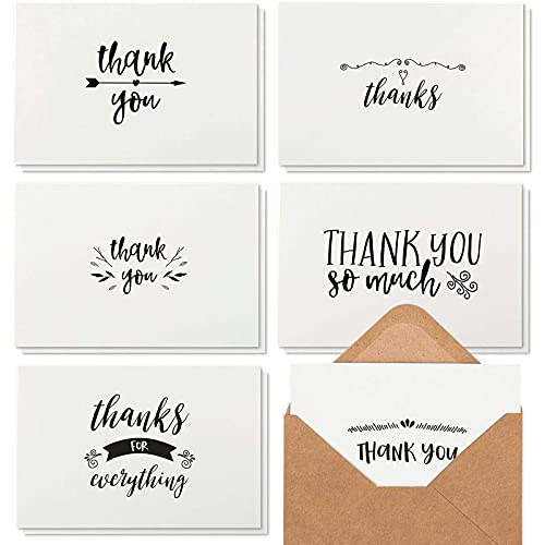 thank you notes Best Paper Greetings 48 Thank You Notes with Brown Kraft Envelopes, Thank You Cards Set, Blank Inside, Handwritten Style for Baby Showers & Wedding