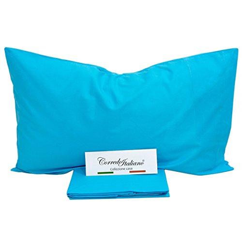 Monocolore® - set lenzuola tinta unita per letto matrimoniale (Turchese)