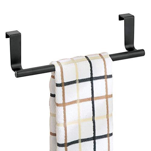 mDesign Soporte para toallas y repasadores -Toallero para cocina colgante - Accesorio para armario, se coloca sobre la puerta sin herramientas - Largo: 23 cm - negro mate