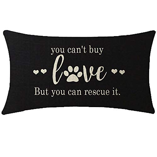 ITFRO Nice Dog Lover Gift to Sister Paw Prints You Cant Buy Love But You Can Rescue It Burlap Black Throw Pillow Case Cushion Cover Couch Sofa Decorative Rectangle 12x20 inches